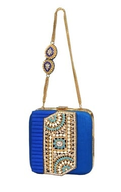 Royal blue embroidered clutch