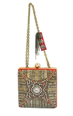 Red and silver dimante embellished clutch