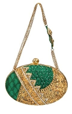 Emerald green and gold embroidered clutch
