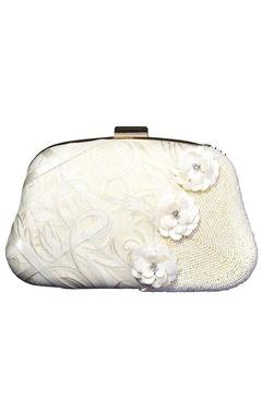Ivory floral beaded embellished clutch