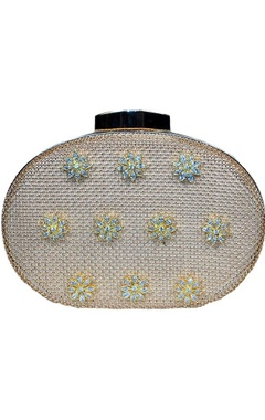 Gold mesh clutch with floral dimante