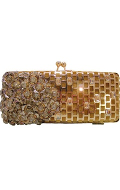 Gold metal floral and dimante clutch