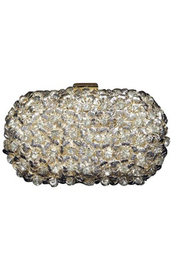 Silver floral metal clutch