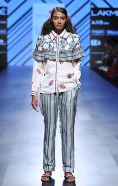 printed jacket & striped pants