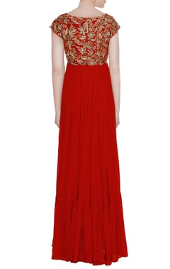 Red chiffon tiered style gown