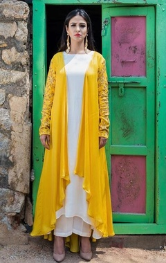 Mustard yellow cape with kurta & palazzo