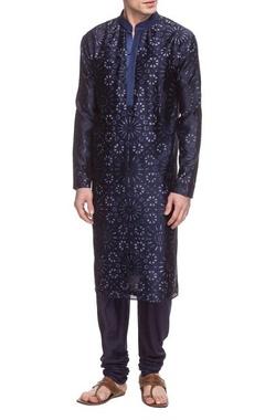 Navy blue motif printed kurta set