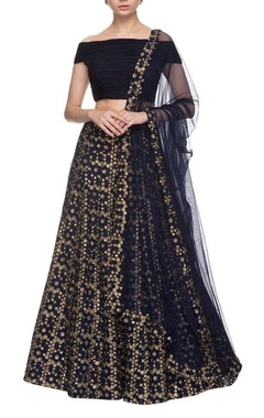 Navy blue & silver embroidered lehenga set