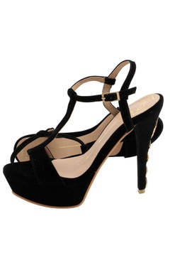 Black t-strap stilettos with stone work