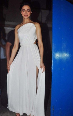 White one shouldered gown with leather detailing