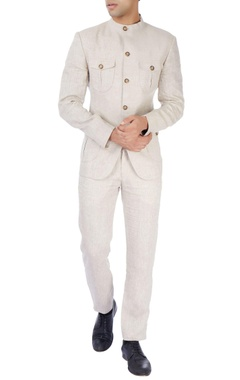 Theorem Beige linen bandhgala & trousers