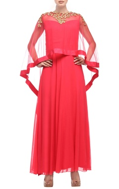 coral red dress with embellished cape