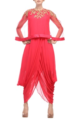 coral red dhoti dress with embellished cape