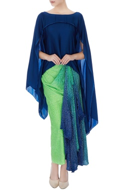 Nupur Kanoi Navy blue asymmetric top with green draped skirt