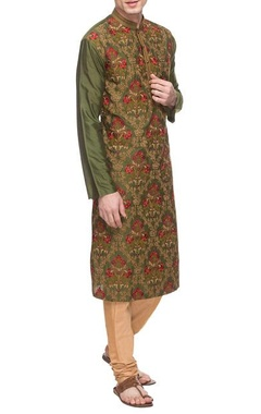 Olive green threadwork embroidered kurta