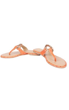Orange leather flats