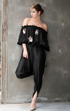 black off-shouldered embellished top & dhoti pants