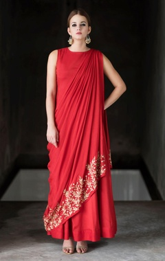 red embroidered & draped dress