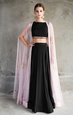 pink embellished cape jacket with black lehenga set