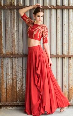 Red embroidered cowl lehenga set