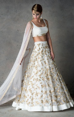 off-white & gold embellished lehenga set