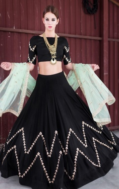 Mint green & black embellished lehenga set