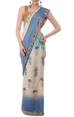 Pale blue & ivory printed tussar silk sari