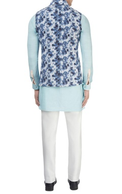 White printed Nehru jacket
