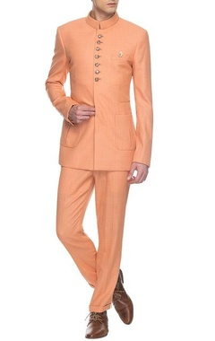 Peach bandhgala & pants set
