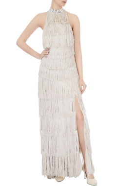 Beige net gown with fringe detailing