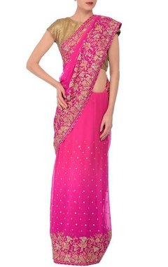 MEHRAAB Pink embroidered sari