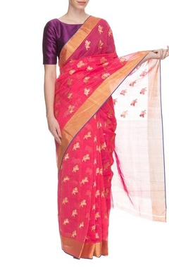 Pink handwoven sari with motifs