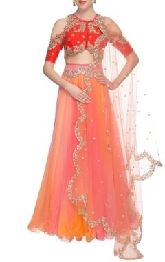 pink & orange embellished lehenga set