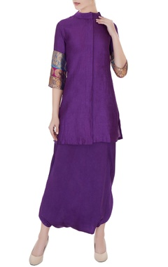 Pinki Sinha Violet moonga silk kurta with pure satin silk dhoti