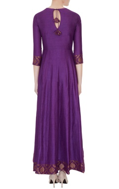 Violet moonga silk kurta with brocade silk border