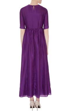 Violet silk long kurta dress with banarasi stole