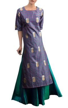Blue checkered kurta set with skirt