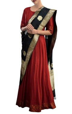 Red anarkali with black stole