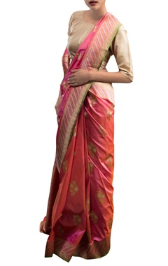 Pink & orange sari with floral motifs