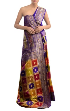 blue sari with multi colored geometric pattern