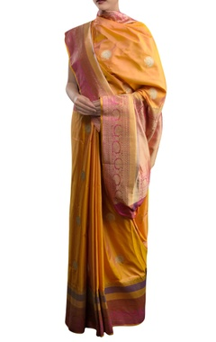 Orange sari with pink border & zari work