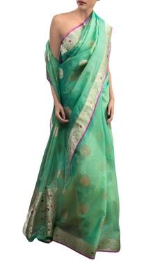 Green sari with zari work