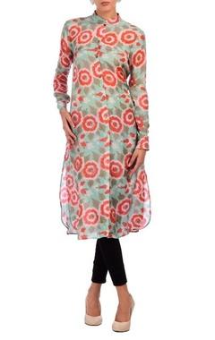 pista green & red rose motif printed tunic