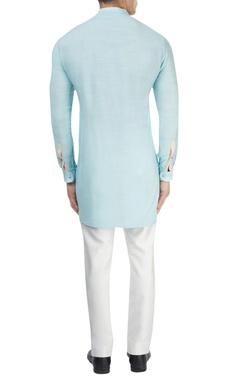 Sky blue kurta & white pants
