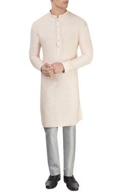 Peach kurta & grey trousers