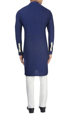 Navy blue kurta & off-white pants