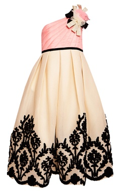Peach embroidered party gown