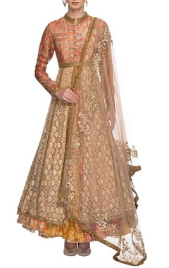 powder pink & gold anarkali with dupatta