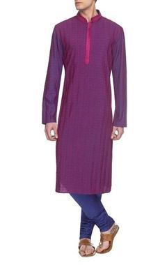 Purple & electric blue embroidered kurta set