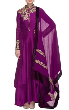 Purple resham embroidered kurta set